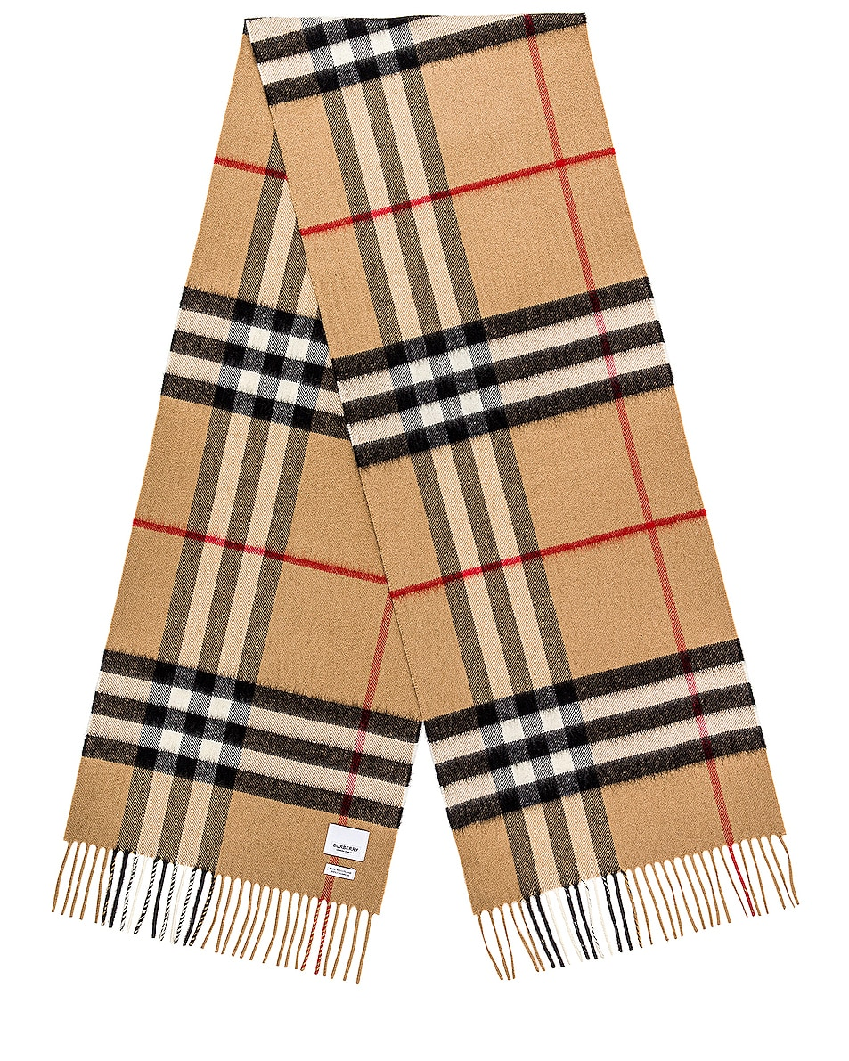 Image 1 of Burberry Giant Check Cashmere Scarf in Archive Beige