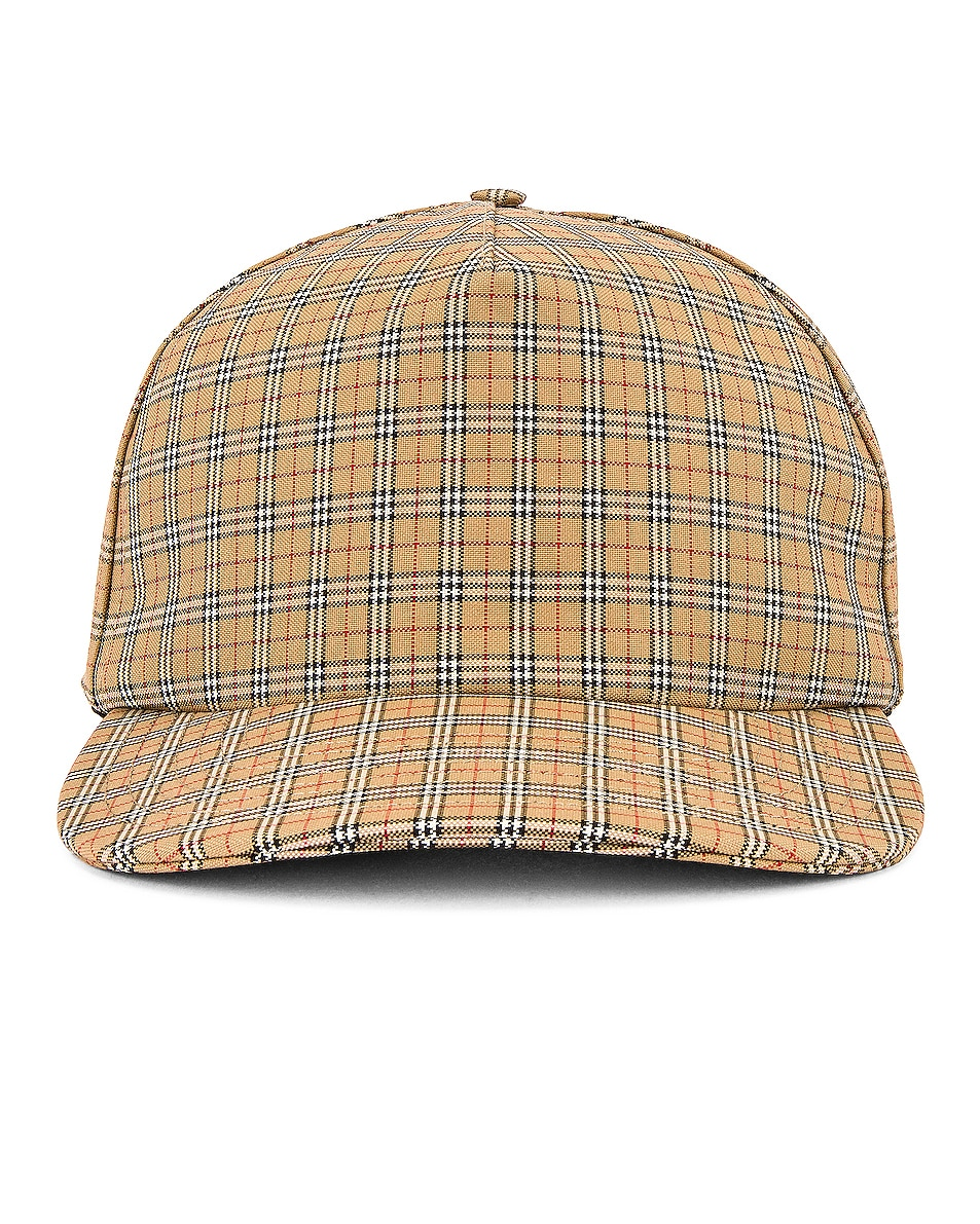 Image 1 of Burberry Micro Check Trucker Cap in Archive Beige