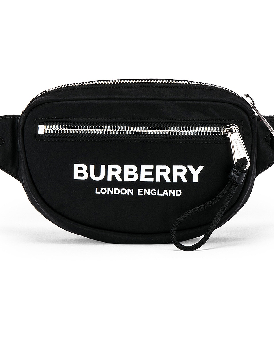 Image 1 of Burberry Cannon Printed Bum Bag in Black