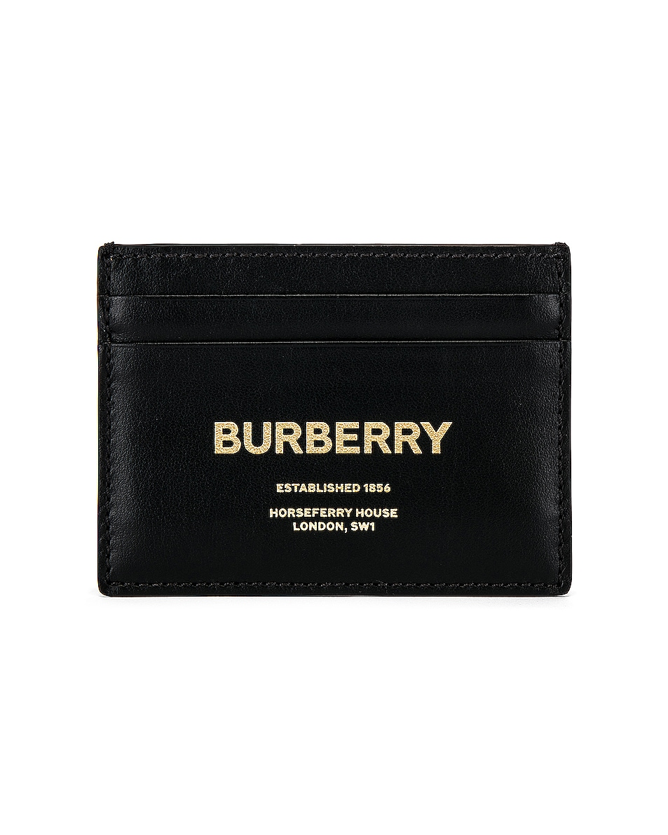 Image 1 of Burberry Sandon Print Card Holder in Black