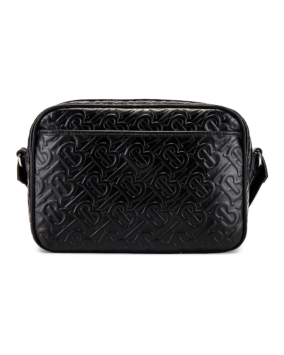 Image 2 of Burberry Monogram Leather Crossbody Bag in Black