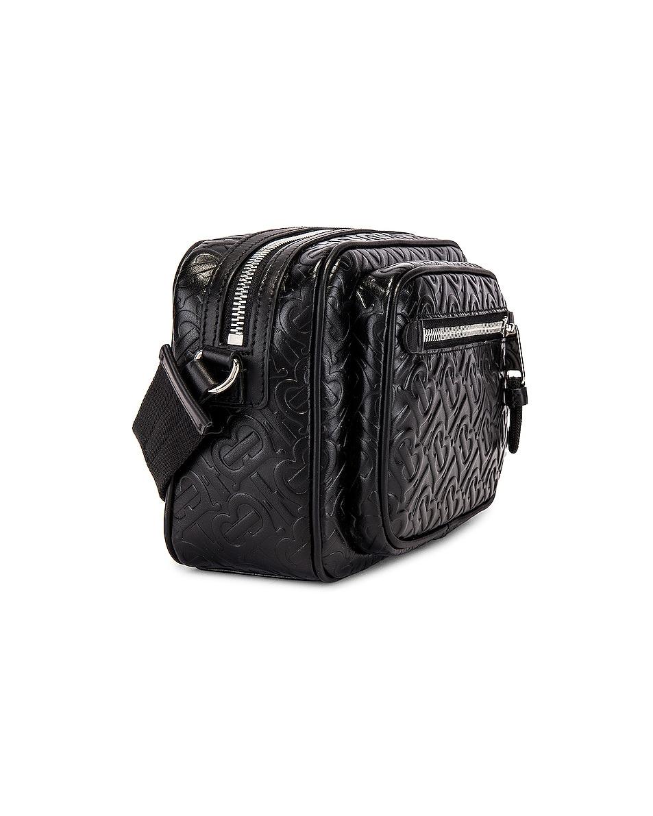 Image 3 of Burberry Monogram Leather Crossbody Bag in Black