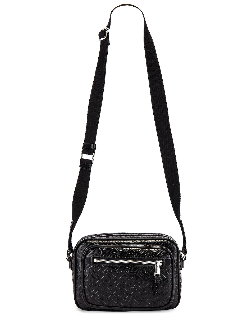 Image 5 of Burberry Monogram Leather Crossbody Bag in Black