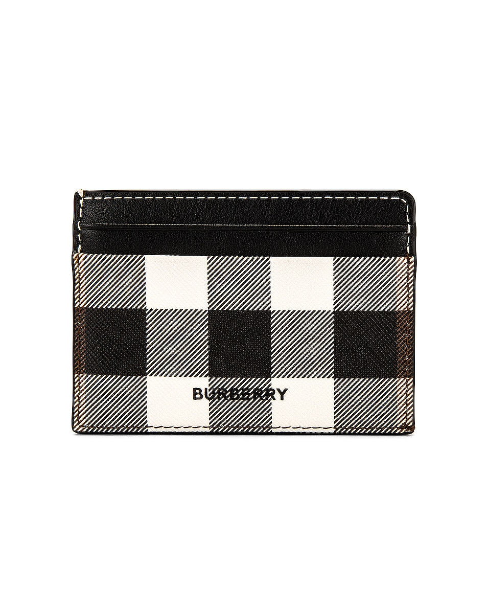 Image 1 of Burberry Vintage Check Leather Cardcase in Black