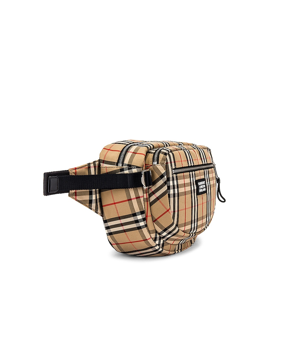 Image 3 of Burberry Vintage Check Bonded Bum Bag in Archive Beige