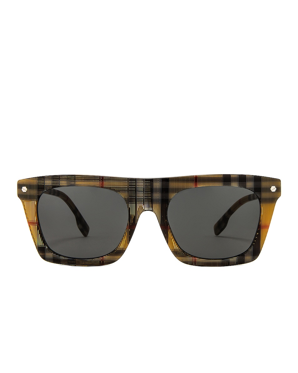 Image 1 of Burberry Camron B Stripe Sunglasses in Vintage Check & Silver Bolt