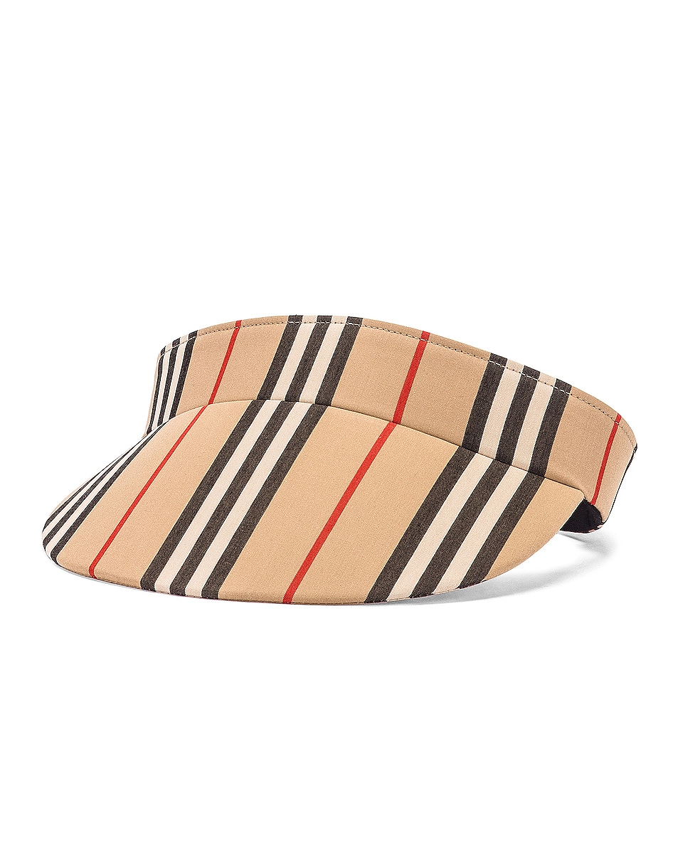 Image 2 of Burberry Stripe Visor in Heritage Stripe