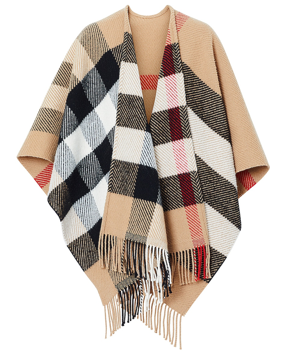 Image 1 of Burberry Mega Check Cape in Camel
