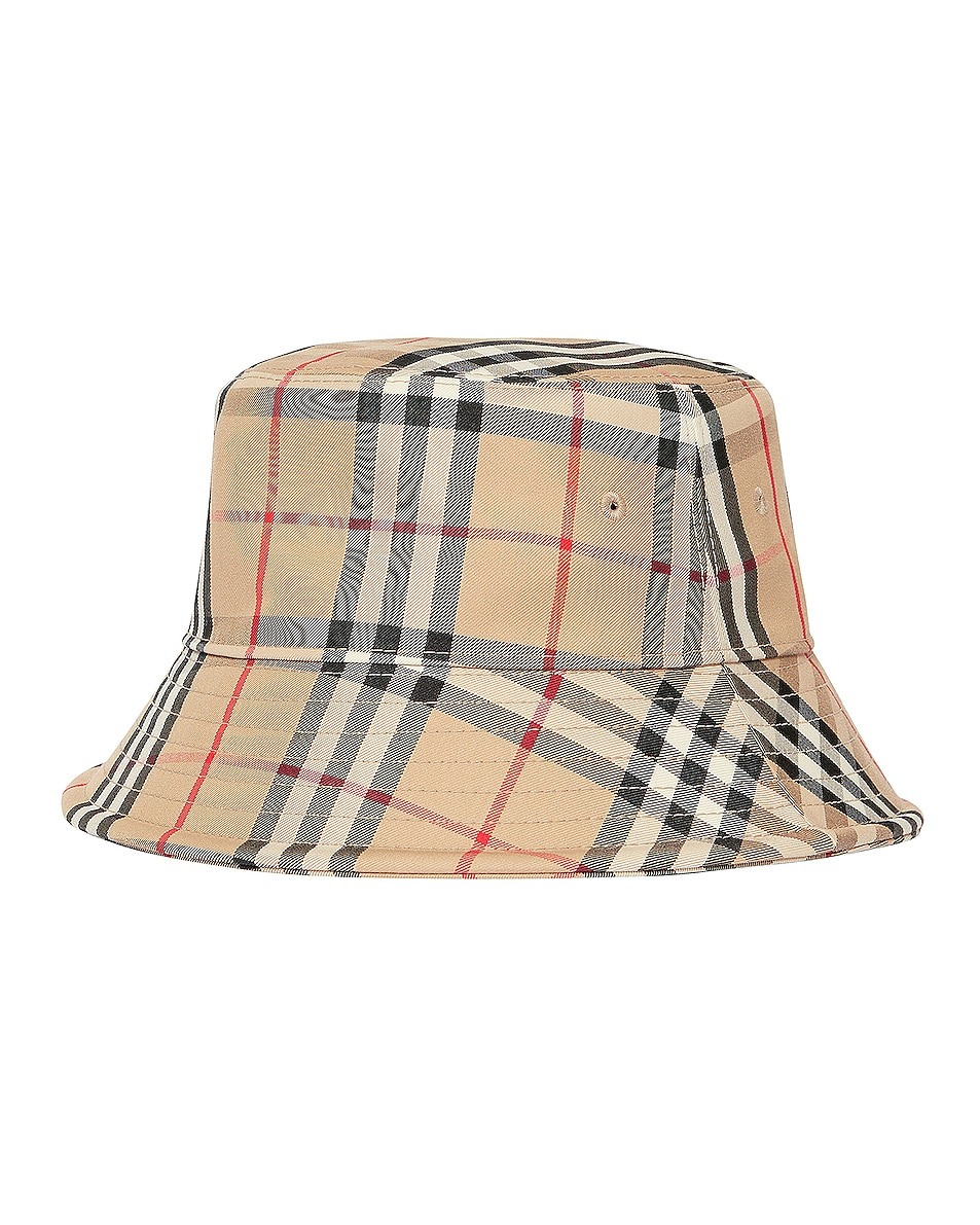 Image 2 of Burberry Check Bucket Hat in Archive Beige