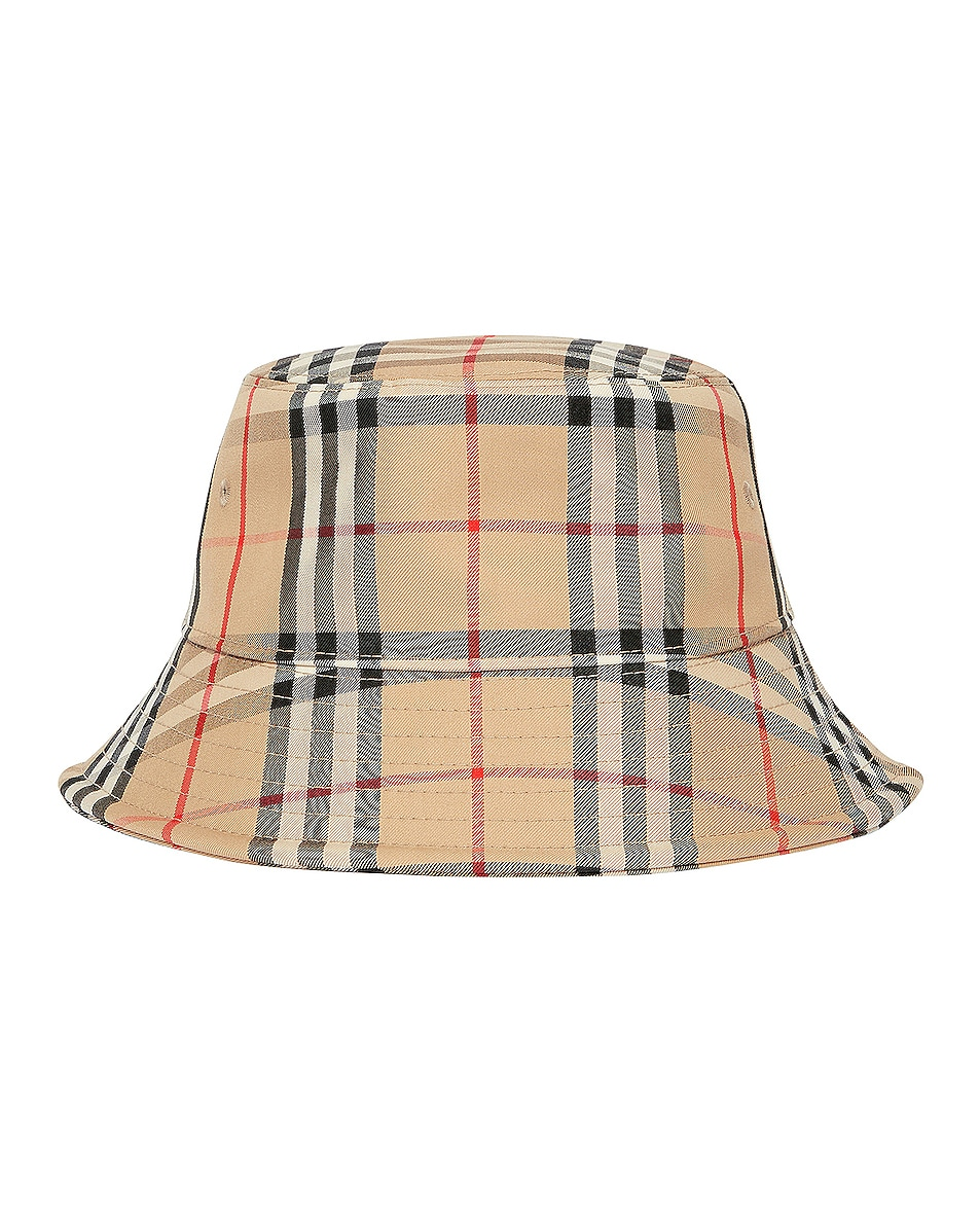 Image 3 of Burberry Check Bucket Hat in Archive Beige
