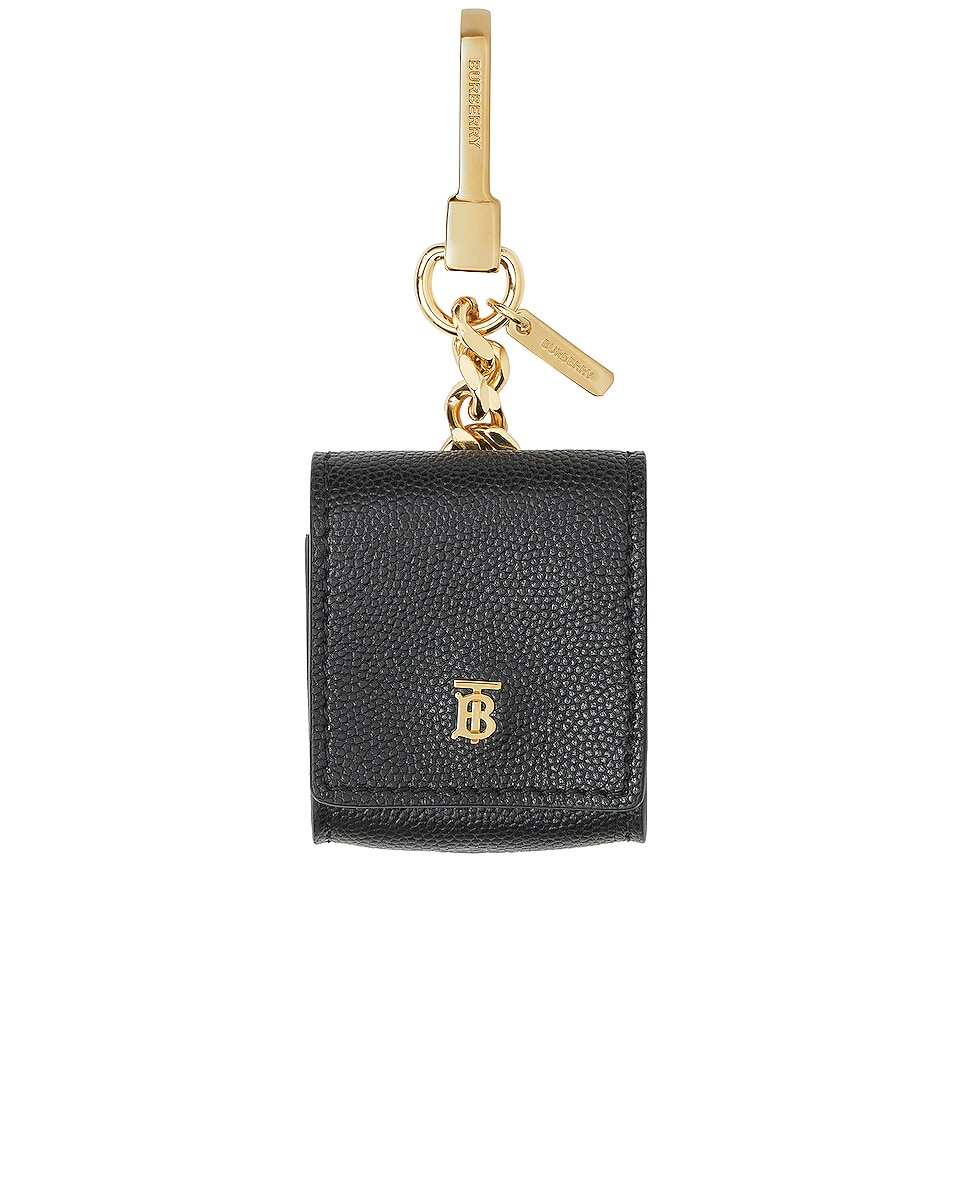 Image 1 of Burberry Leather Earphone Case in Black
