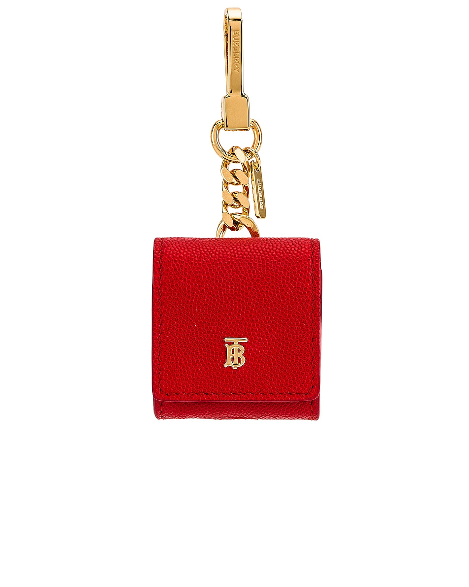 Image 1 of Burberry Leather Earphone Case in Bright Red