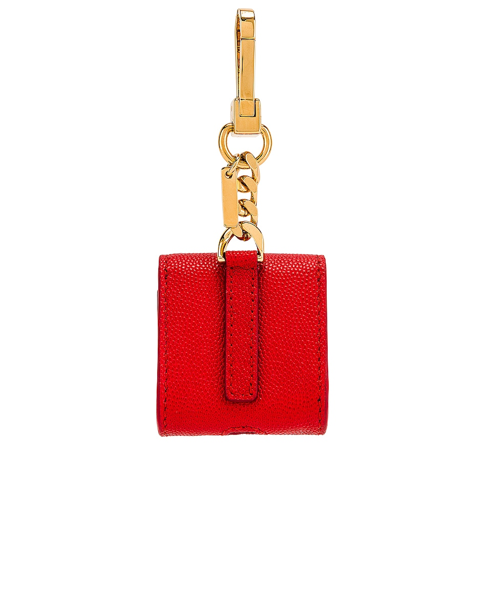 Image 2 of Burberry Leather Earphone Case in Bright Red