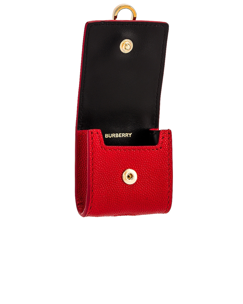Image 3 of Burberry Leather Earphone Case in Bright Red