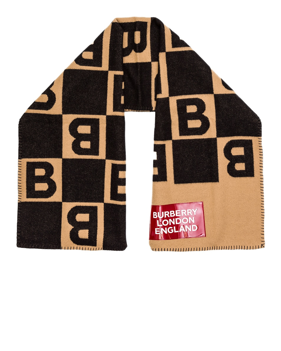 Image 1 of Burberry Patch B Repeat Scarf in Archive Beige