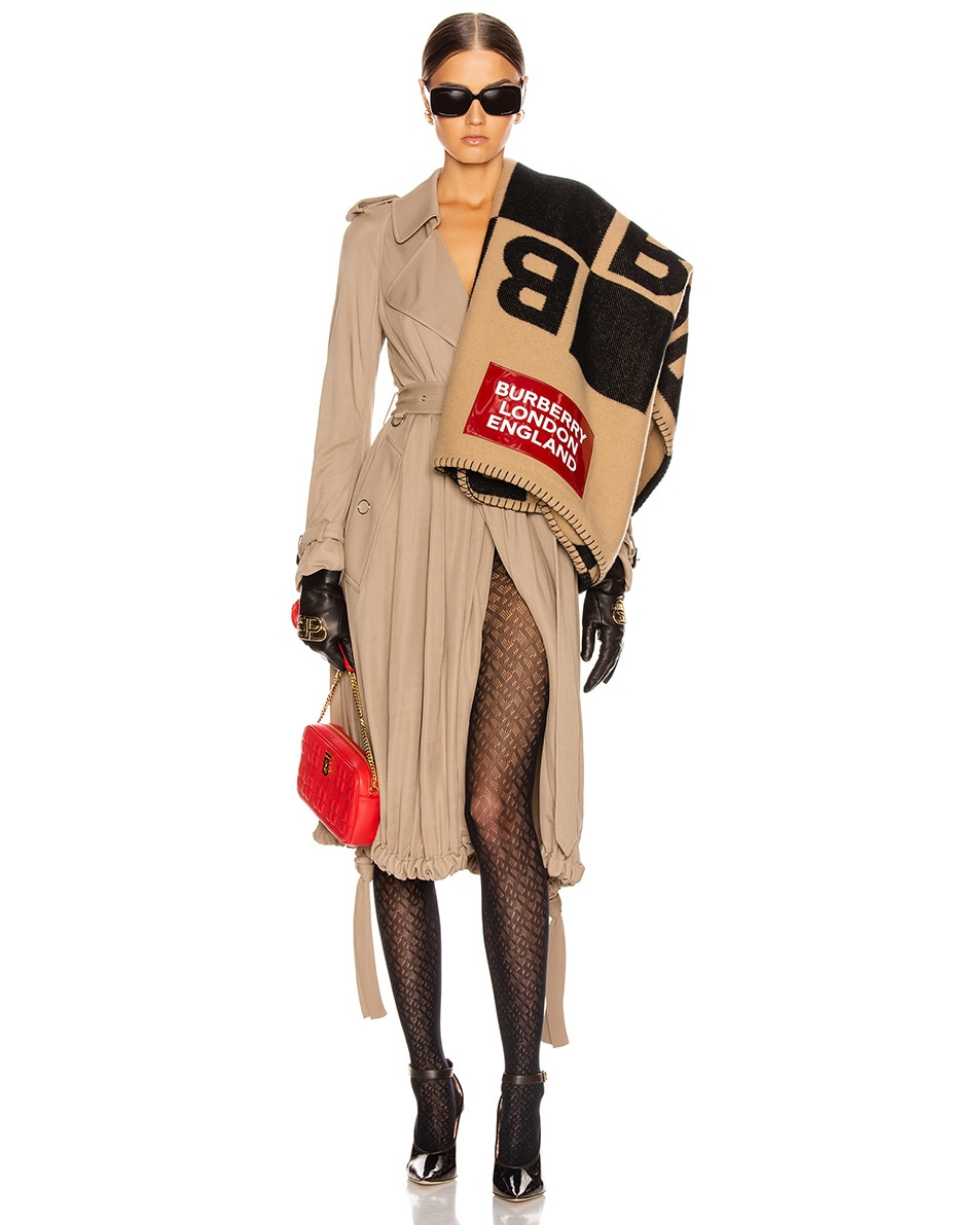 Image 2 of Burberry Patch B Repeat Scarf in Archive Beige