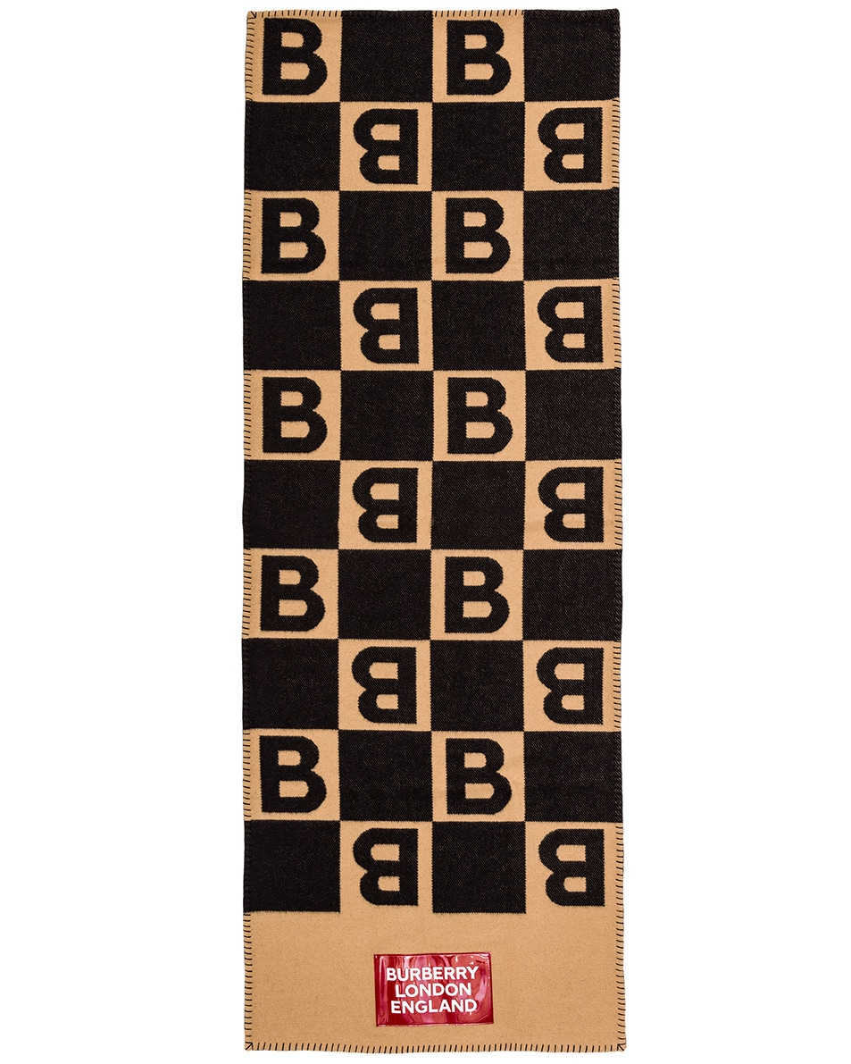 Image 3 of Burberry Patch B Repeat Scarf in Archive Beige