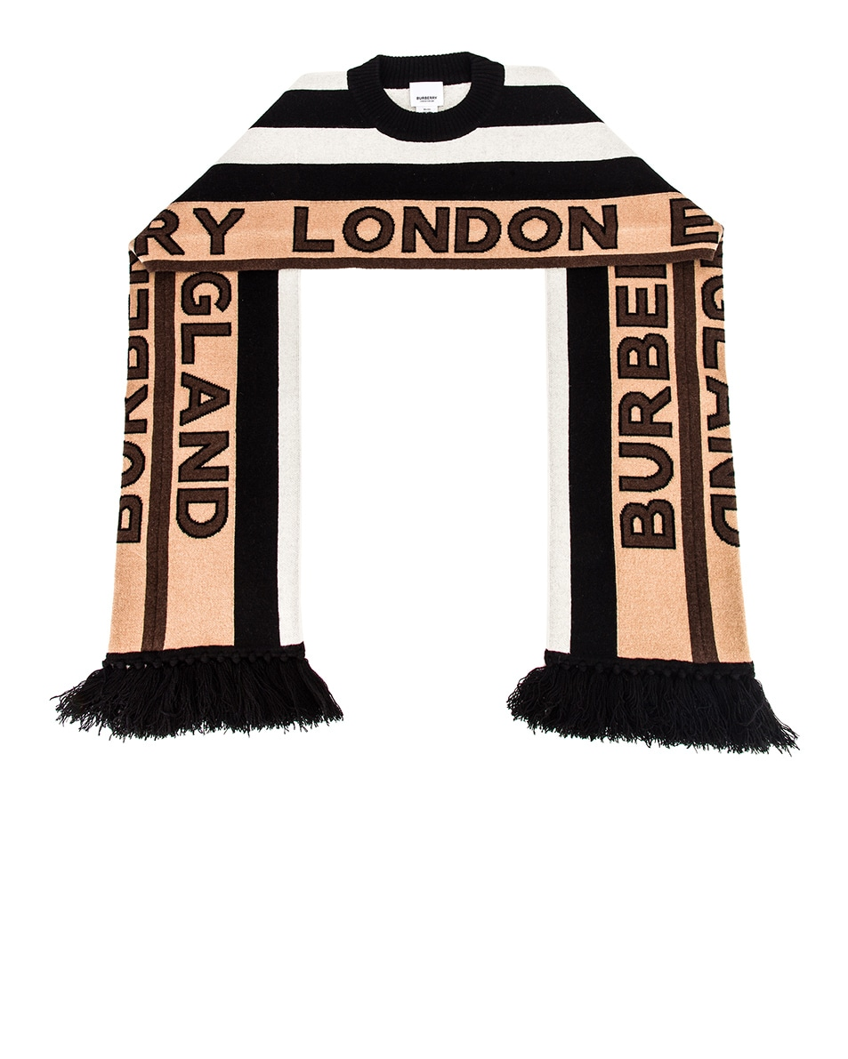 Image 6 of Burberry BB Football Scarf in Briddle Brown