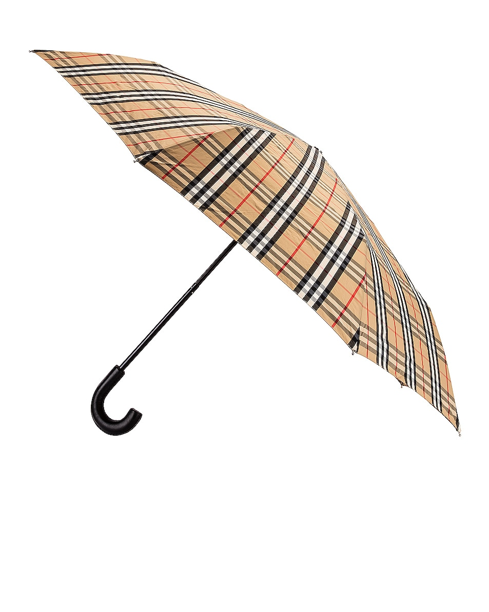 Image 1 of Burberry Check Umbrella in Archive Beige