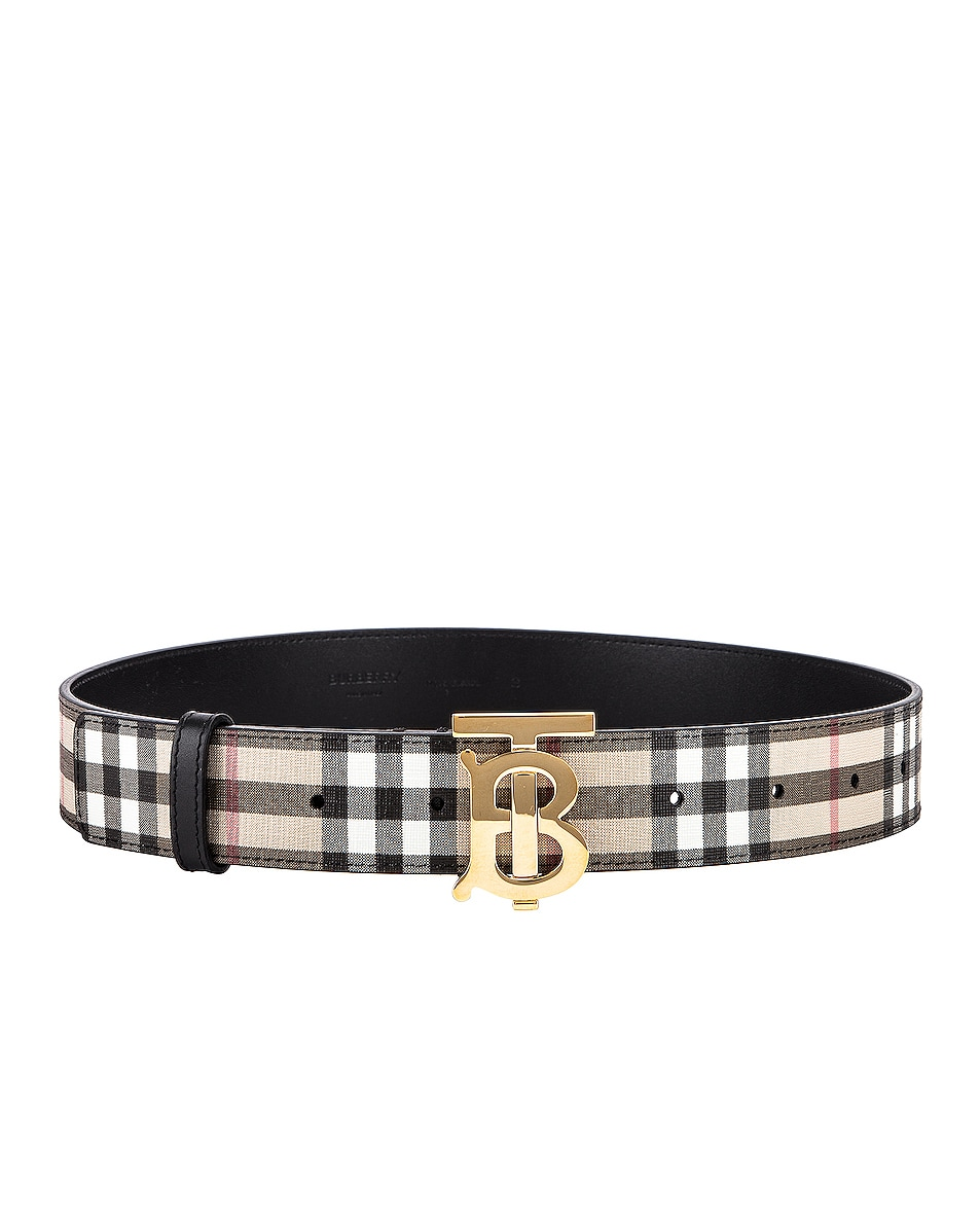 Image 2 of Burberry Vintage Check Belt in Archive Beige