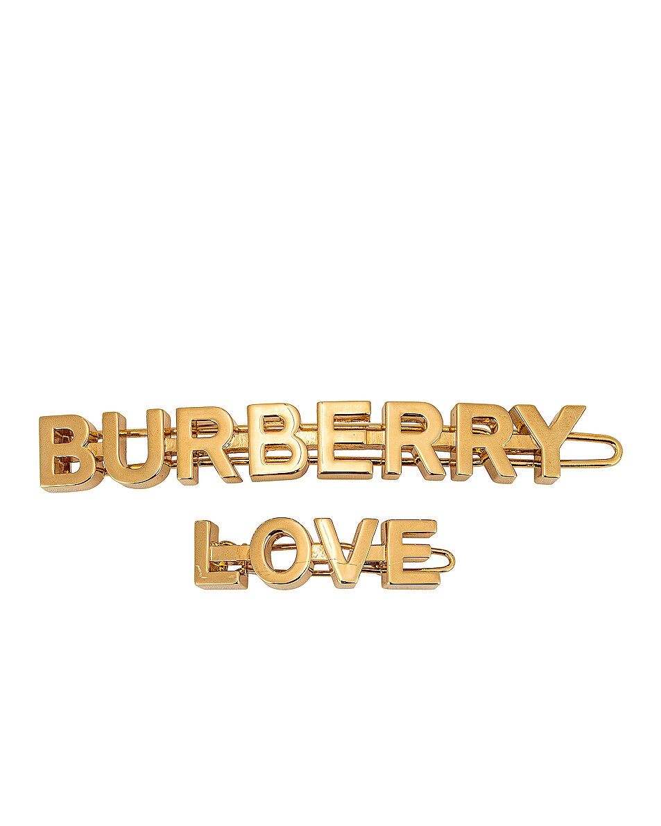 Image 1 of Burberry Love B Hair Clips in Light Gold
