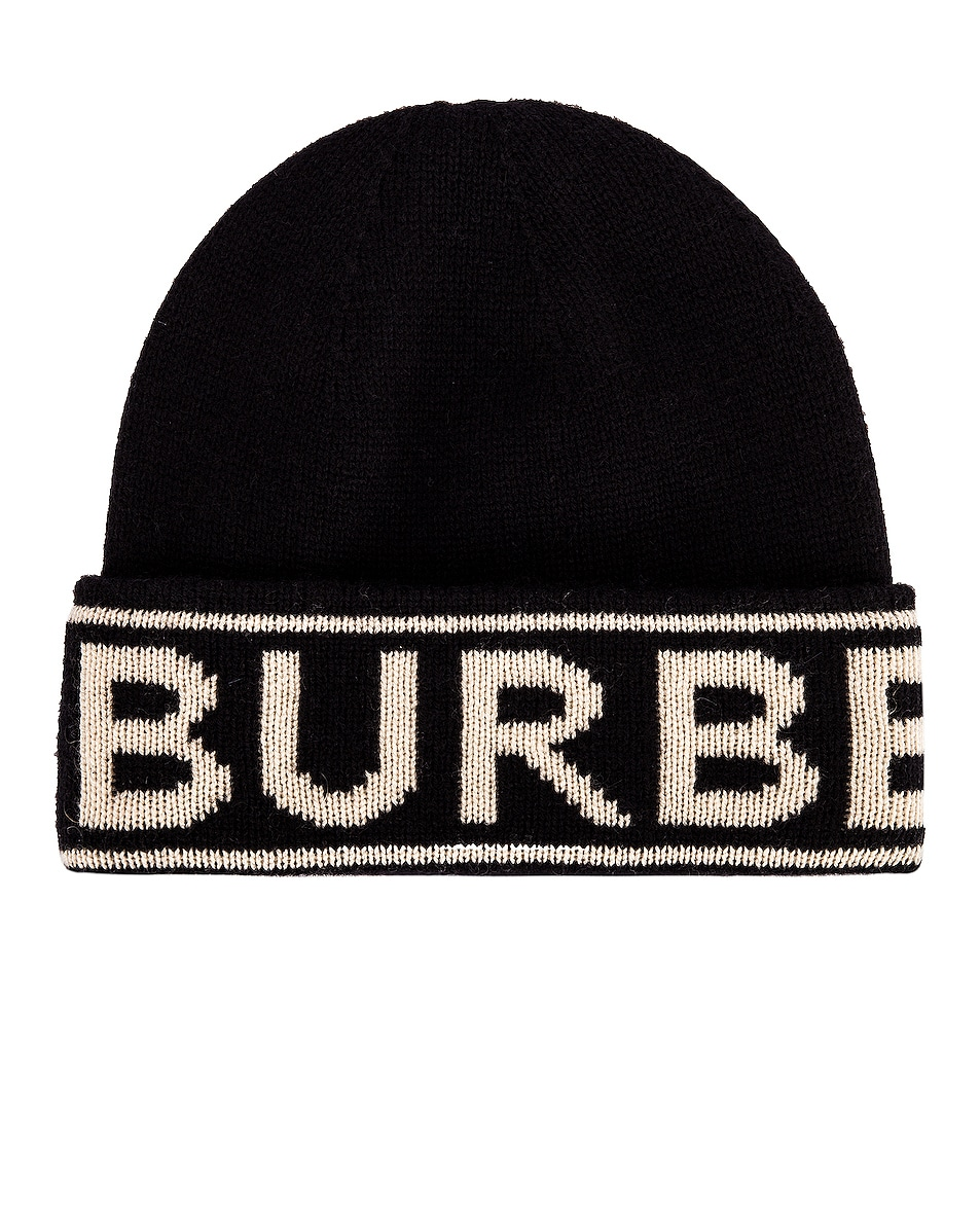 Image 1 of Burberry BB Cash Knit Hat in Black