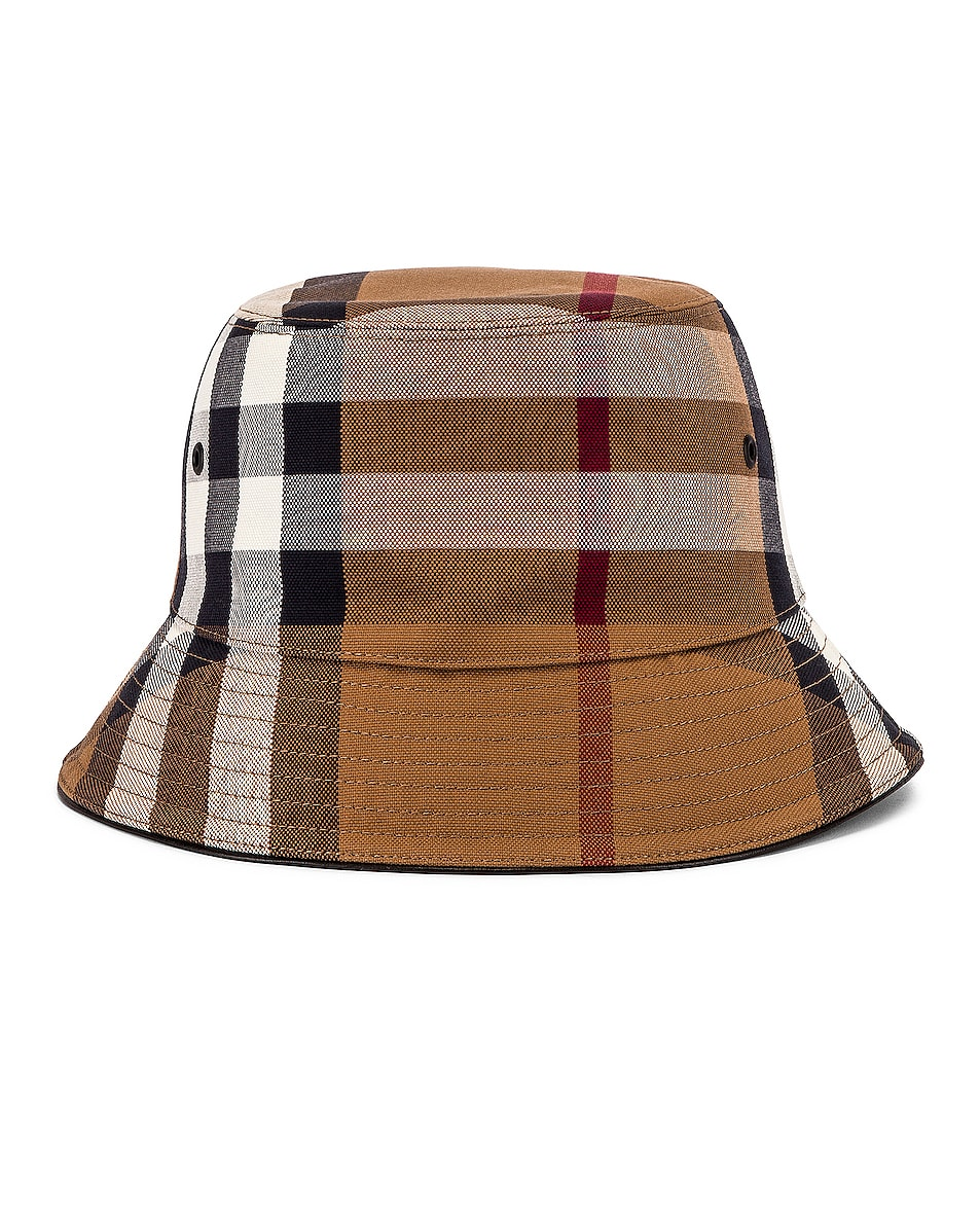 Image 1 of Burberry Canvas Check Bucket Hat in Birch Brown IP Check