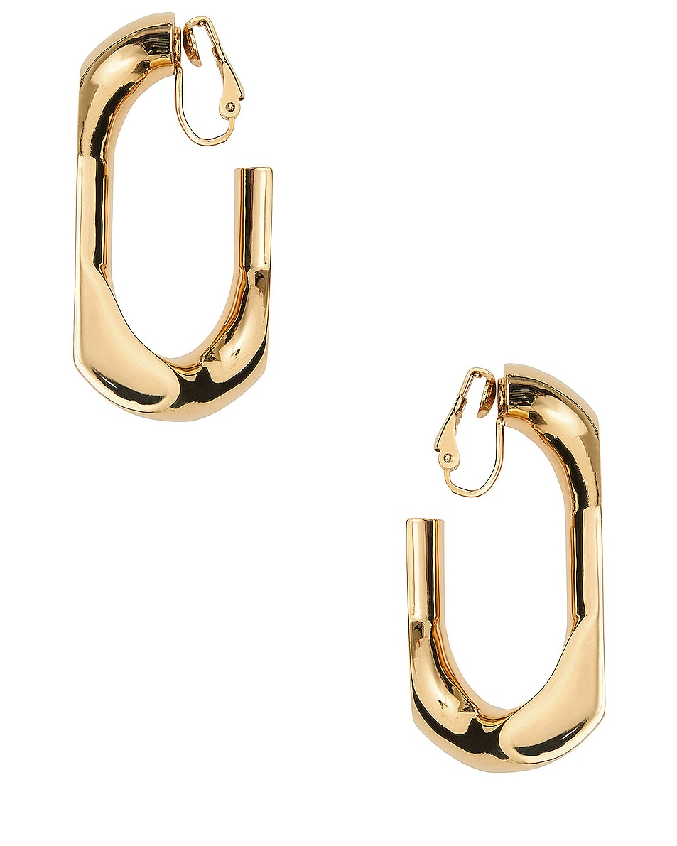 Image 1 of Burberry Large Chain Link Earrings in Light Gold