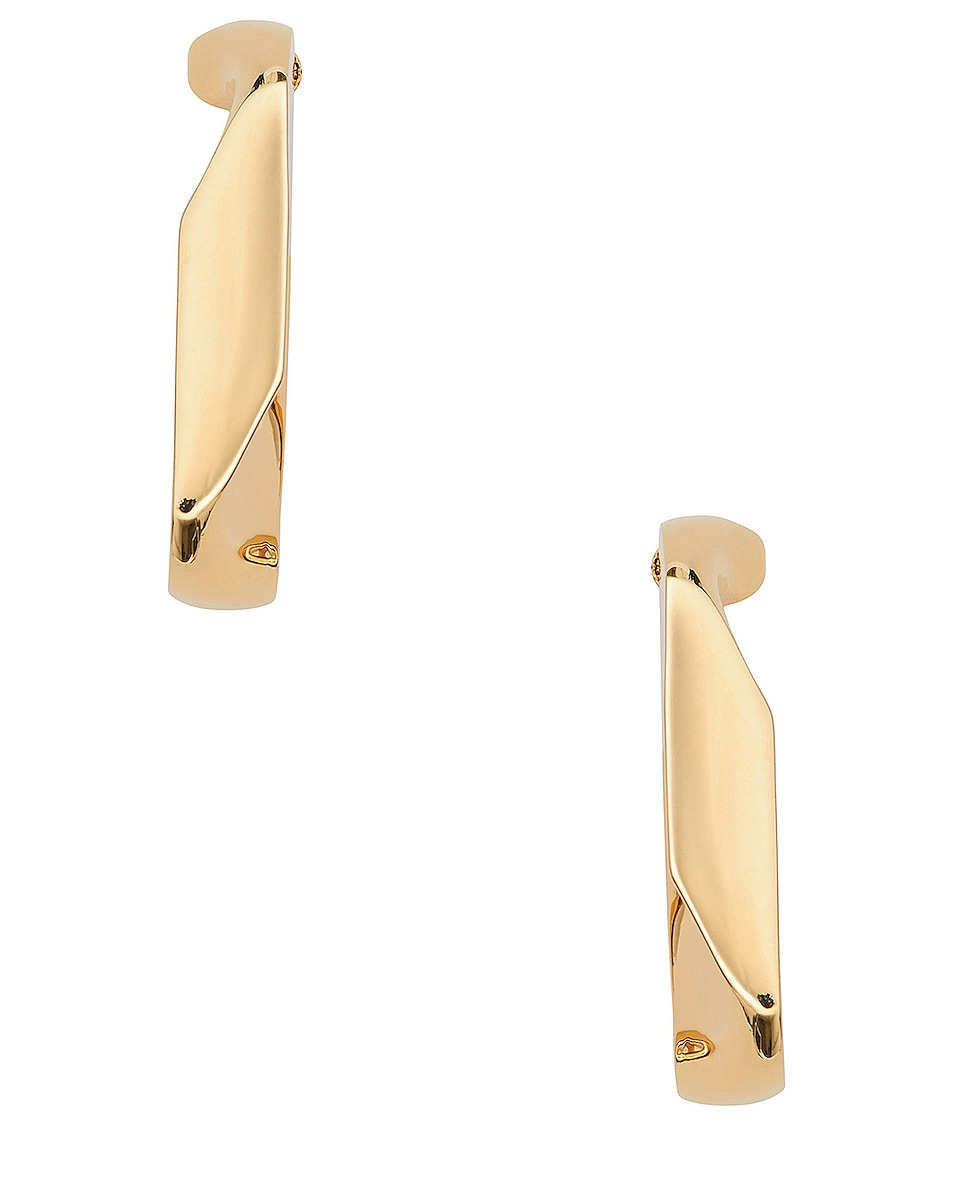 Image 2 of Burberry Large Chain Link Earrings in Light Gold