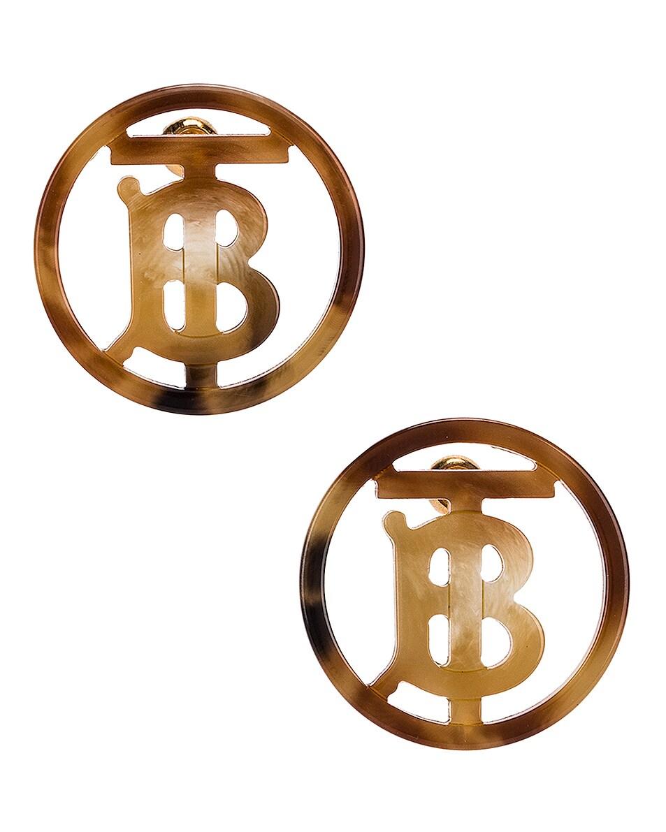 Image 1 of Burberry Large Outline Earrings in Light Gold &Tartaruga
