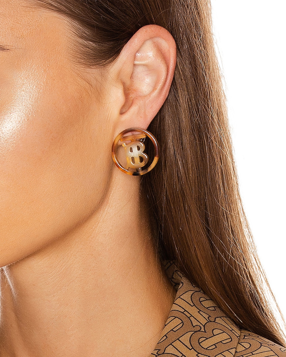 Image 2 of Burberry Large Outline Earrings in Light Gold &Tartaruga