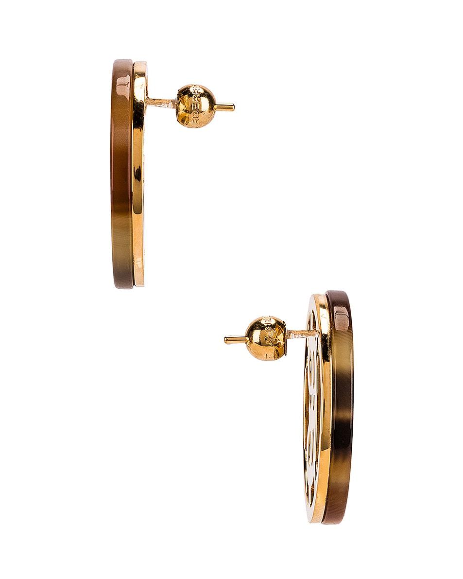 Image 3 of Burberry Large Outline Earrings in Light Gold &Tartaruga