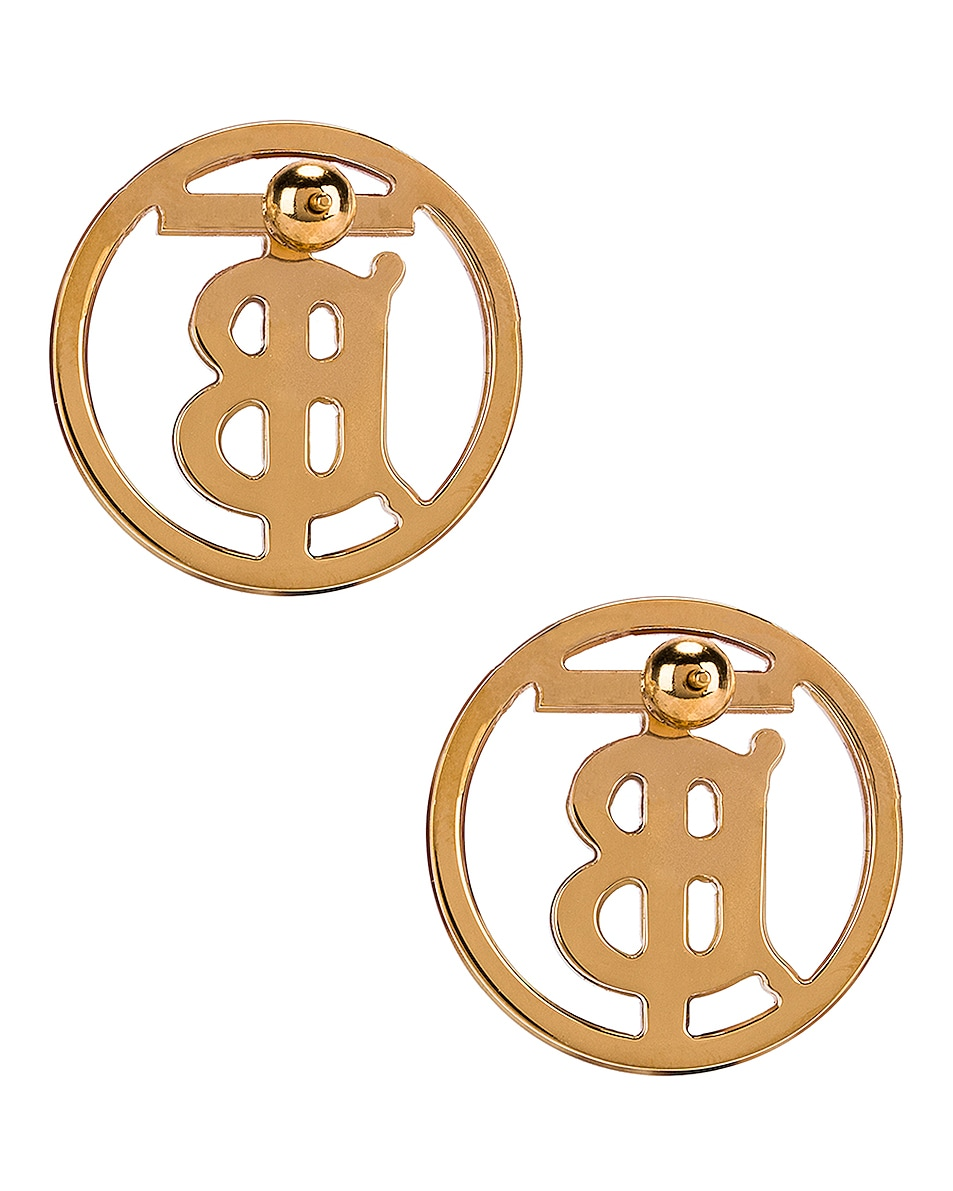 Image 4 of Burberry Large Outline Earrings in Light Gold &Tartaruga