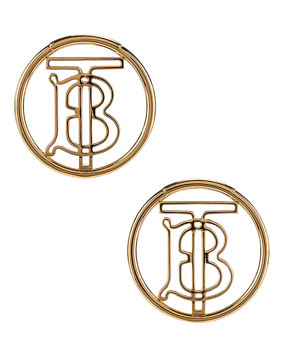 Image 1 of Burberry Large Outline Clip Earrings in Light Gold