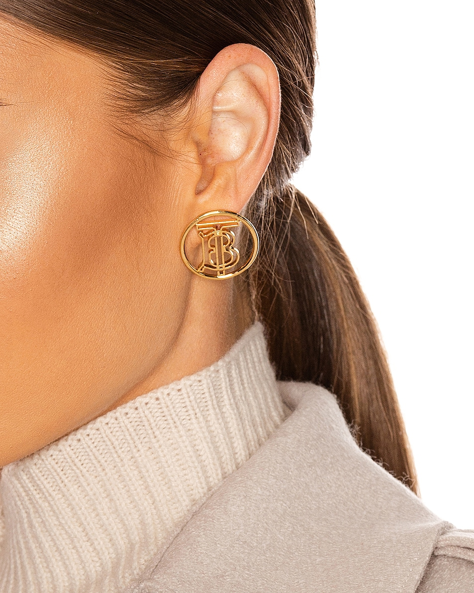 Image 2 of Burberry Large Outline Clip Earrings in Light Gold