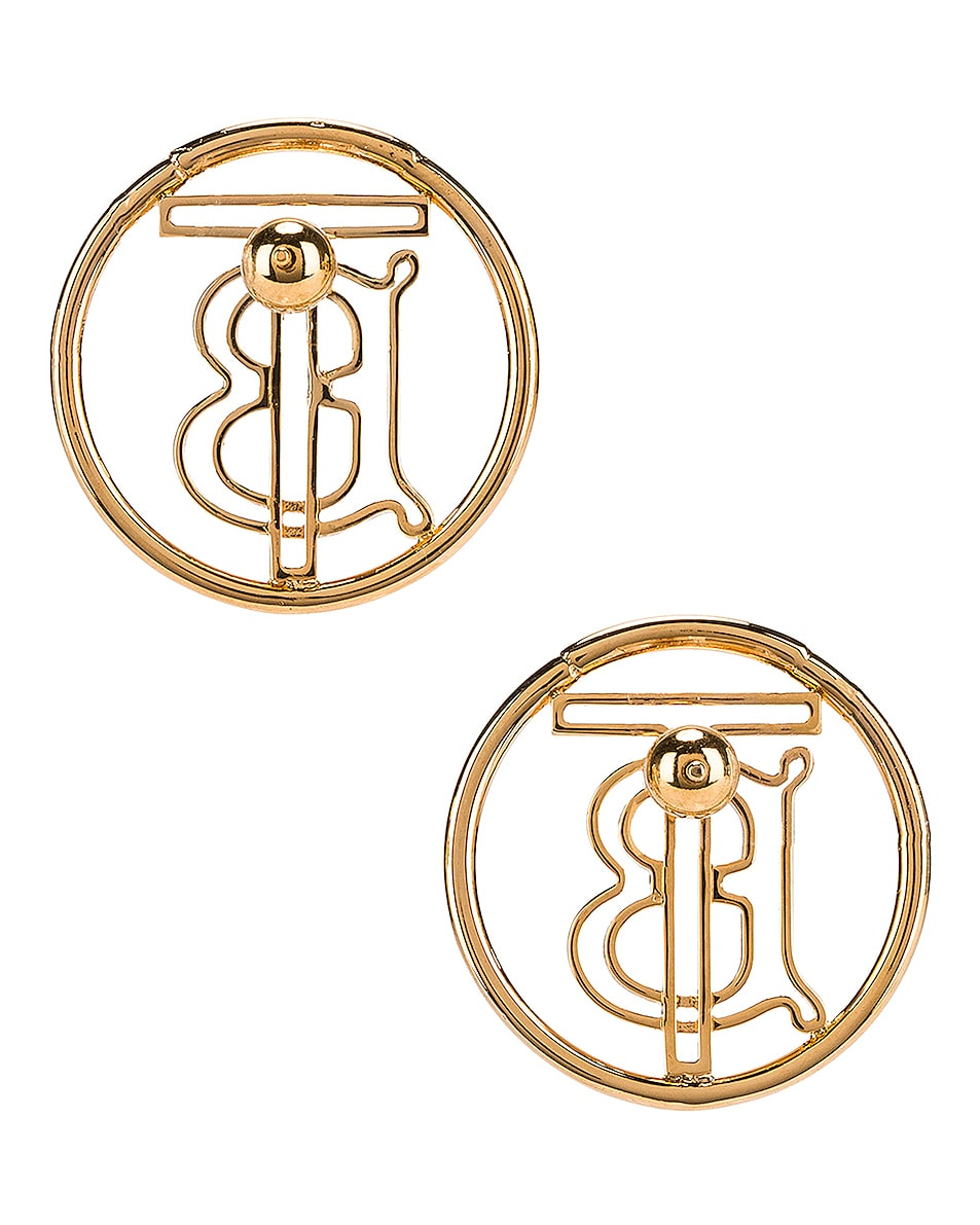 Image 4 of Burberry Large Outline Clip Earrings in Light Gold