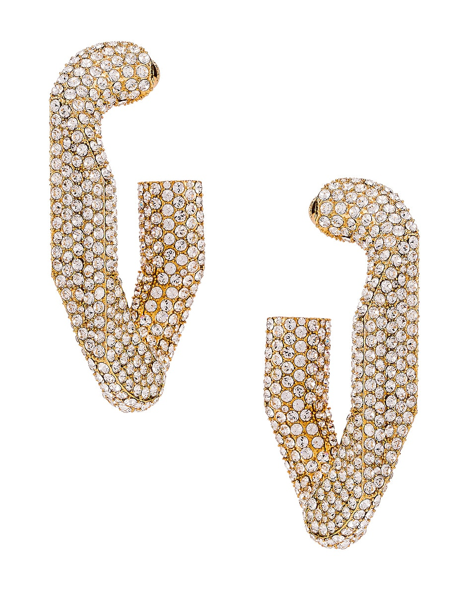 Image 2 of Burberry Large Chain Link Earrings in Light Gold & Crystal