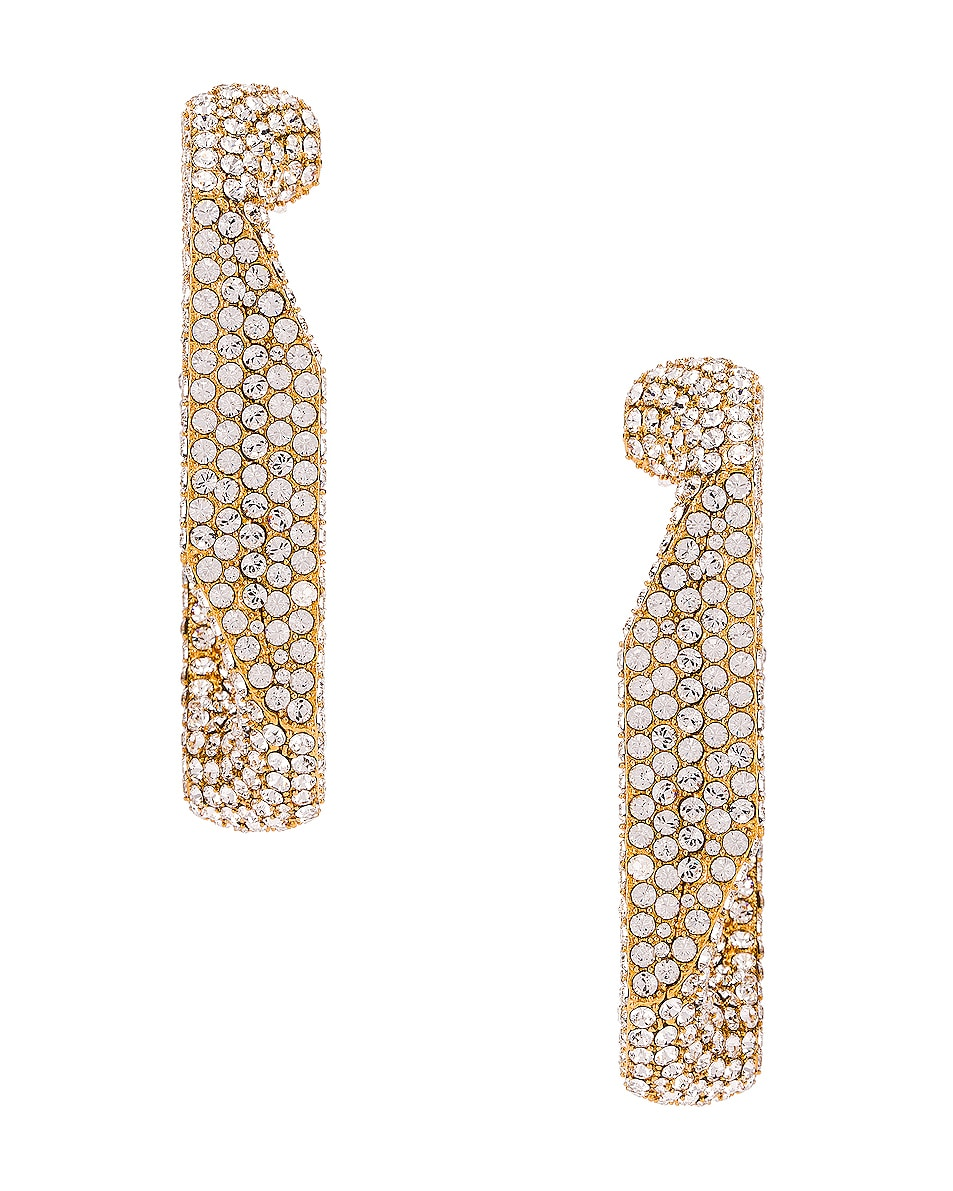 Image 3 of Burberry Large Chain Link Earrings in Light Gold & Crystal