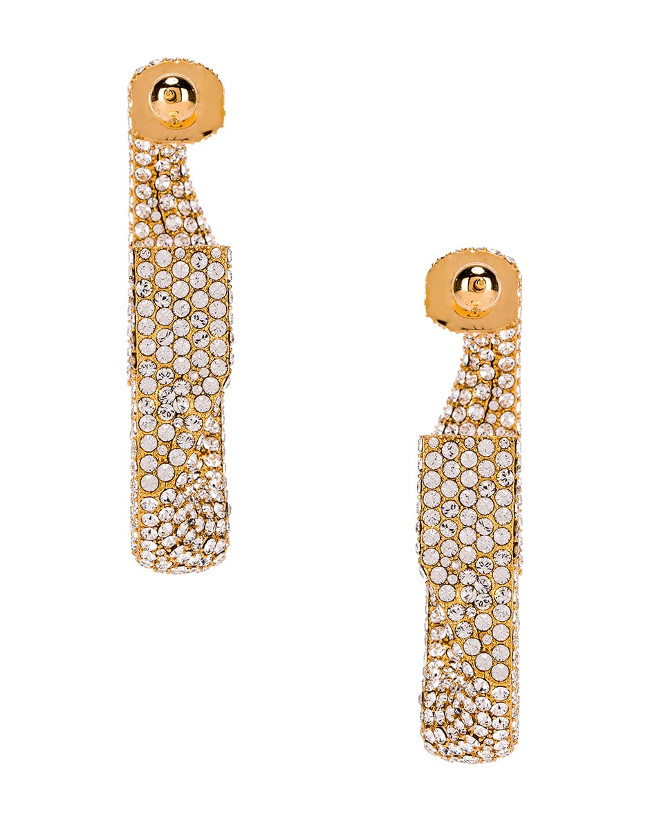 Image 5 of Burberry Large Chain Link Earrings in Light Gold & Crystal