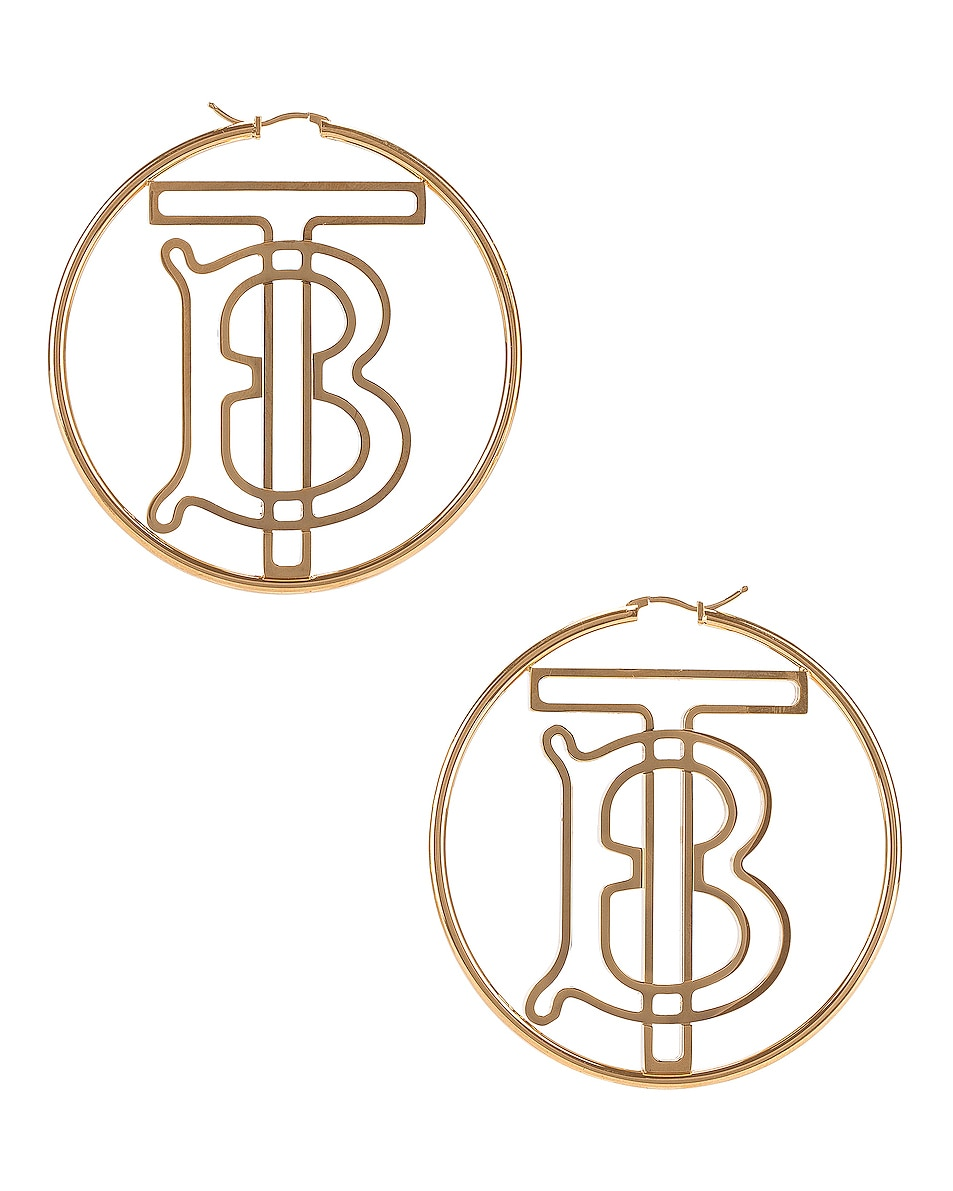 Image 1 of Burberry TB Hoop Earrings in Light Gold