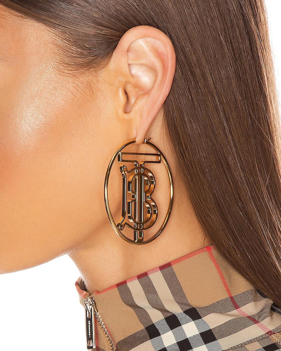 Image 2 of Burberry TB Hoop Earrings in Light Gold
