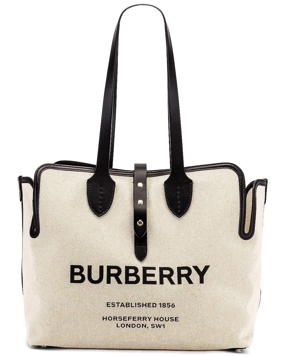 Image 1 of Burberry Soft Belt Tote in Black