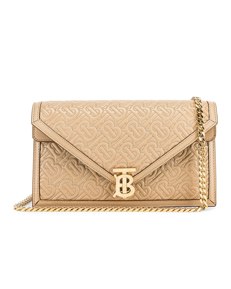 Image 1 of Burberry Small Monogram Quilted Envelope Chain Bag in Honey