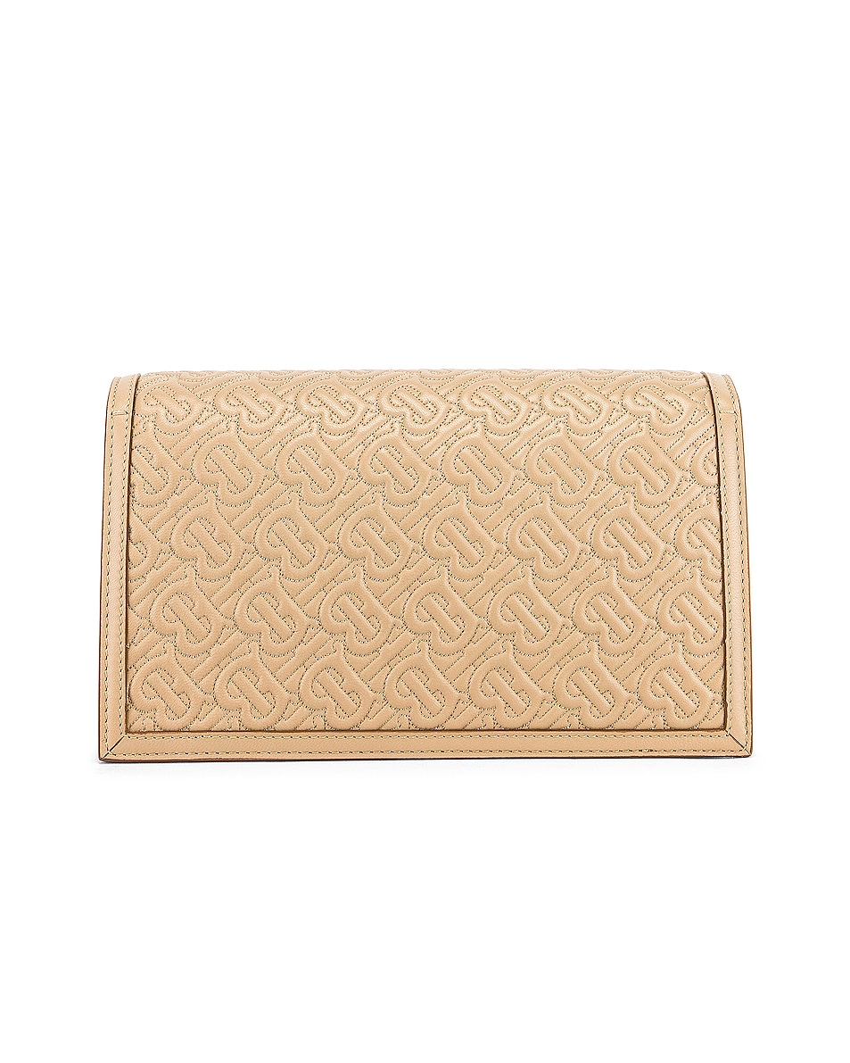 Image 3 of Burberry Small Monogram Quilted Envelope Chain Bag in Honey
