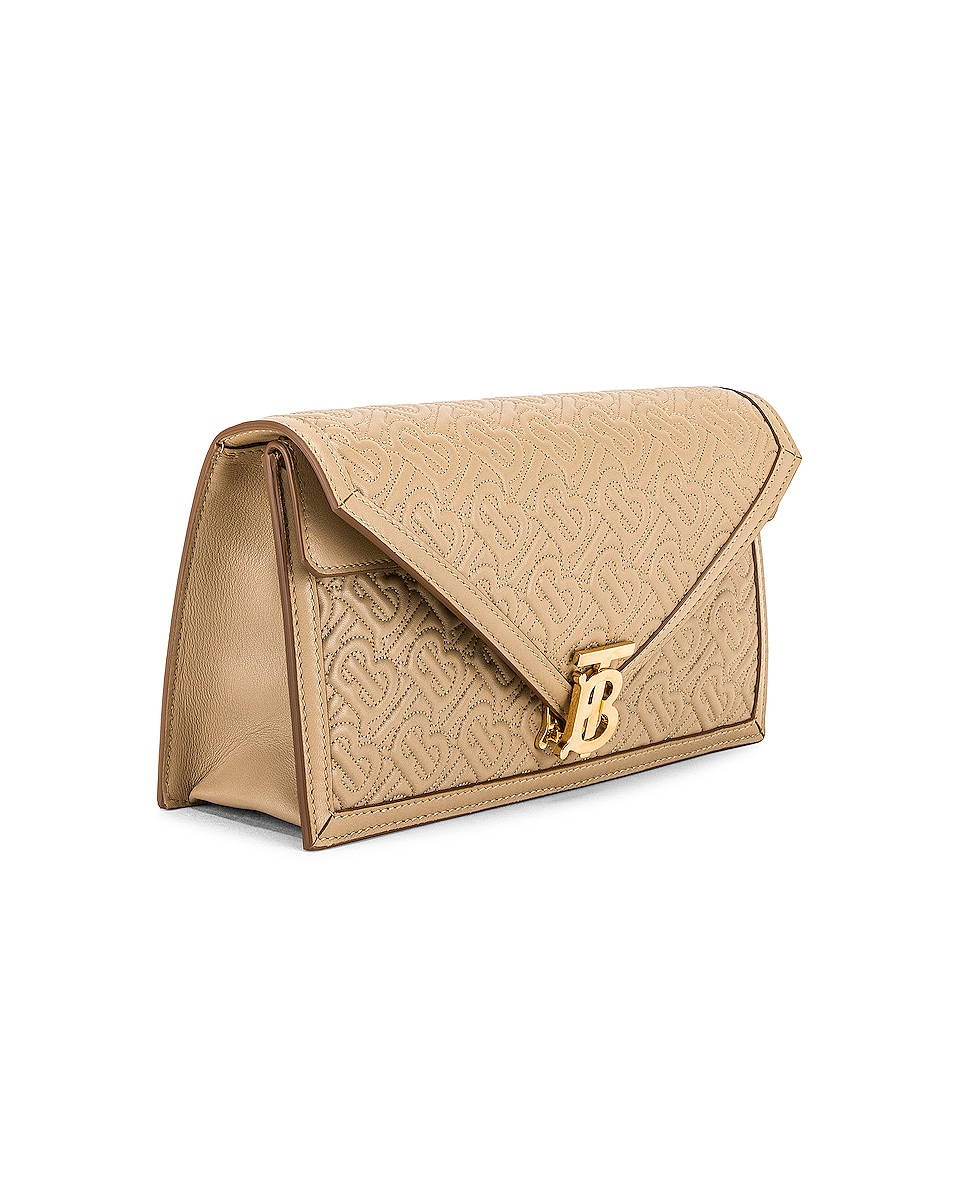 Image 4 of Burberry Small Monogram Quilted Envelope Chain Bag in Honey