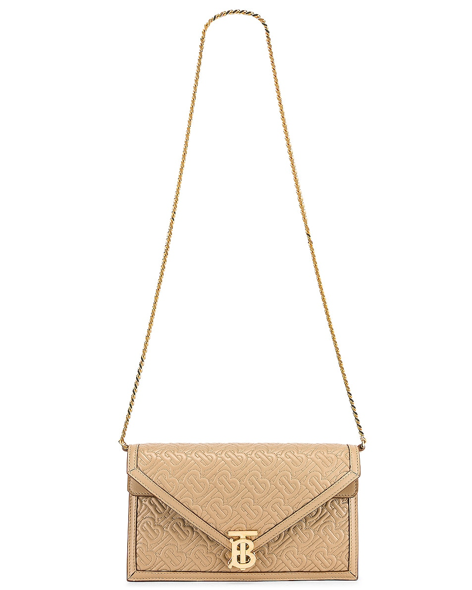 Image 6 of Burberry Small Monogram Quilted Envelope Chain Bag in Honey