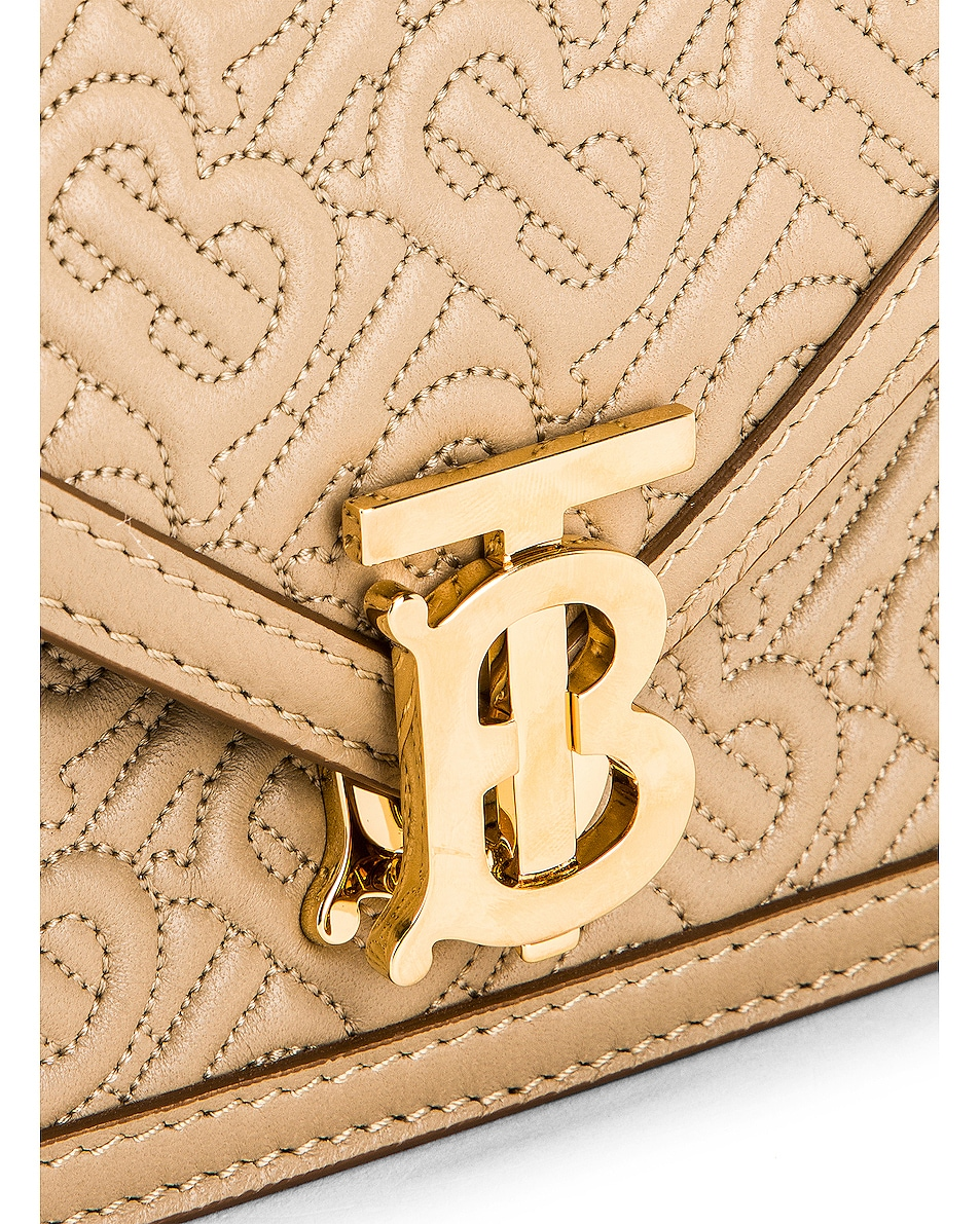 Image 8 of Burberry Small Monogram Quilted Envelope Chain Bag in Honey
