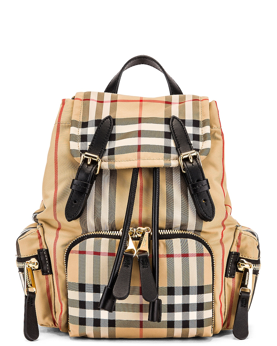 Image 1 of Burberry Small Stripe Backpack in Archive Beige