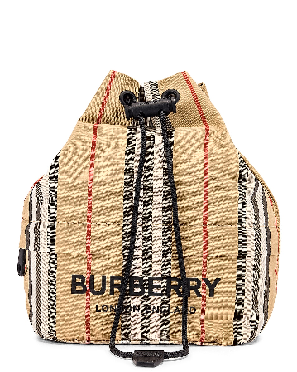 Image 1 of Burberry Phoebe Stripe Pouch in Archive Beige