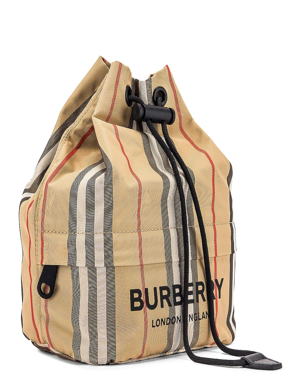Image 4 of Burberry Phoebe Stripe Pouch in Archive Beige